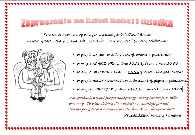 Zaproszenie Na Dzień Babci I Dziadka Przedszkole Miejskie Nr 6 W